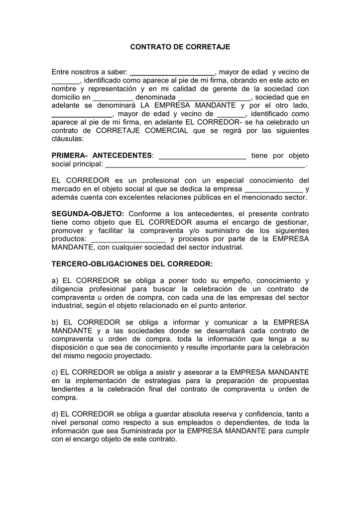 Contrato de corretaje escrito